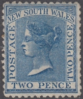 NSW SG 209 MH 1871 Two Pence Queen Victoria De La Rue New South Wales