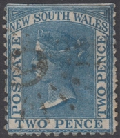 NSW numeral postmark 9 BATHURST rays numeral on 2d DLR New South Wales Australia