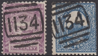 NSW numeral postmark 1134 THE EXCHANGE barred numeral cancel SG 253 1d View of Sydney & 2d emu New South Wales Australia