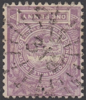 NSW numeral postmark 318 URANA rays numeral on 1d View of Sydney New South Wales Australia