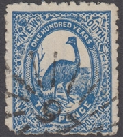 NSW numeral postmark 97 WALCHA rays numeral on 2d emu New South Wales Australia