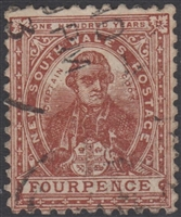 NSW SG 255d red-brown 1888-1889 four pence 4d Captain Cook