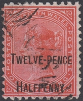NSW SG 268c 1891 twelve pence halfpenny surcharge on 1s red DLR