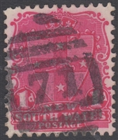 NSW numeral postmark 71 TAMWORTH barred numeral on 1d shield New South Wales Australia