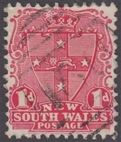 NSW numeral postmark 180 CAMPERDOWN barred numeral on 1d shield New South Wales Australia