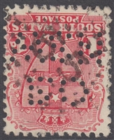 NSW numeral postmark 65 WOLLOMBI rays numeral on OS NSW perfin 1d shield New South Wales Australia