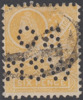 NSW SG 340 1905-10 Six Pence Centenary design OSNSW perfinNew South Wales