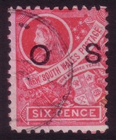 NSW SG O42 1888-1890 six pence