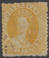 QLD SG 49 1864 REGISTERED (6d) Orange-Yellow Chalon Head Queen Victoria Six Pence Queensland