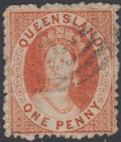 QLD SG 59 1871 1d Orange-Vermilion Chalon Head Queen Victoria One Penny Queensland