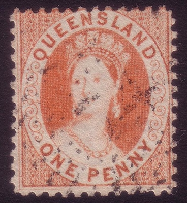 QLD SG 74 1868-1874 one penny QV chalon