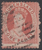 QLD SG 85 1868-75 1d Deep Rose-Red Chalon Head Queen Victoria One Penny Queensland