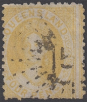 QLD SG 103 1876-78 4d Buff-Yellow 2nd Transfer Chalon Head Queen Victoria Four Pence Queensland