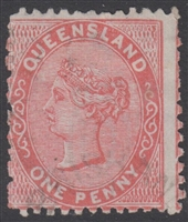 QLD SG 136 1881 Die I 1d Scarlet First 1st Sideface Queen Victoria One Penny Queensland