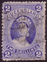 QLD SG 152 1882-1895 2/- bright blue large chalon.