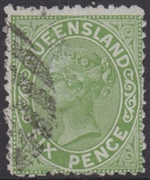 QLD SG 170 1882-91 6d Green Queen Victoria sideface Queensland Six Pence