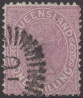 QLD SG 174 1882-91 1/- 1s Pale Mauve Queen Victoria sideface Queensland One Shilling