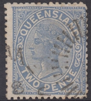 QLD SG 188 1890-94 2d Blue Queen Victoria sideface Queensland Two Pence