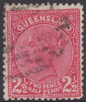 QLD SG 191 1890-94 2½d Bright Carmine Pink Queen Victoria sideface Queensland Two Pence Halfpenny