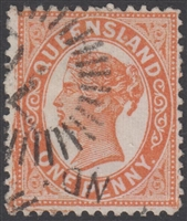 QLD SG 210 1895-96 1d Orange-Red Queen Victoria sideface Queensland One Penny