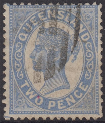 QLD SG 212 1895-96 2d blue Queen Victoria sideface Queensland Two Pence