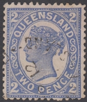 QLD SG 234 1897-1908 2d Blue Queen Victoria sideface Queensland Two Pence