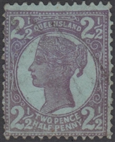 QLD SG 237 1899 2½d Purple on Blue Queen Victoria sideface Queensland Two Pence Half Penny