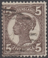 QLD SG 247 1897-1908 5d Dull Brown Queen Victoria sideface Queensland Five Pence