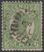 QLD SG 249 1898 6d Green Queen Victoria sideface Queensland Six Pence