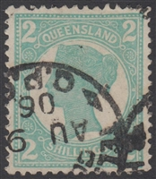 QLD SG 254 1897-1908 2s Turquoise-Green Queen Victoria sideface Queensland Two Shillings
