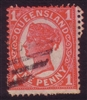 QLD SG 259 1897-1898 1d vermilion zigzag roulette and perforated