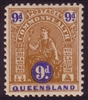 QLD SG 283a 1906-10 TYPE A nine pence MINT with gum