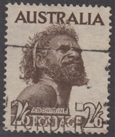 SG 253 1952-65 Aborigine CofA watermark 2s6d Deep Brown
