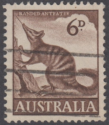 SG 316 1960 Banded Anteater Numbat 6d Six Pence Brown