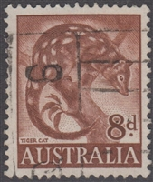 SG 317 1960 Tiger Cat Spotted-tailed Quoll 8d Eight Pence Red-brown