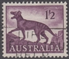 SG 321 1962 Tasmanian Tiger 11s2d 1/2- One Shilling Two Pence Deep Purple