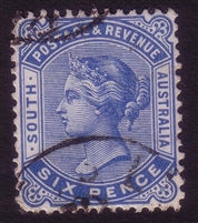 SA SG 194a 1895-1899 six pence blue Perforation 13