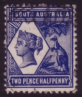 SA SG 237 1894-1906 two pence halfpenny indigo. Perforation 13