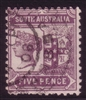 SA SG 297 1905-1911  five pence brown-purple. Perforation 12x11.5