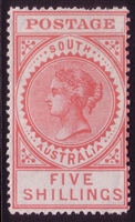 SA SG 305 1906-1912 MH FIVE SHILLINGS bright rose. Long Tom Thick POSTAGE. Perforation 12.5
