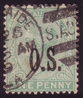 SA SG O58 1891-1896 one penny with OS OVERPRINT.