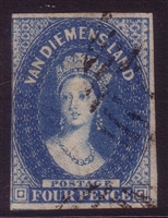 TAS SG 17 1855 imperforate chalon Six Pence deep blue 3 huge margins