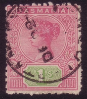 TAS SG 221 1892-1899 one shilling rose and green tablet.
