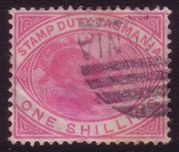 TAS SG F29 POSTALLY USED 1880 1/-. Perf 14. Platypus Stamp Duty.