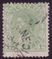 VIC SG 209 1882-84 One Penny Yellow Green
