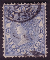 VIC SG 214b 1882-84 Six Pence Light Ultramarine