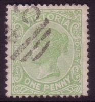 VIC SG 297 1885 One Penny yellowish-green