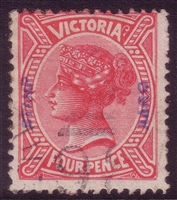 VIC SG 309 1885 STAMP DUTY OVERPRINT Four Pence rose-red