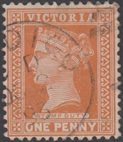 VIC SG 313b 1890 1d One Penny orange-brown Reading design BENDIGO 1893