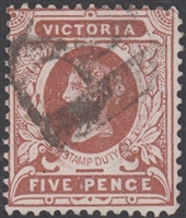 VIC SG 317a 1886-96 Inverted watermark Five Pence purple-brown